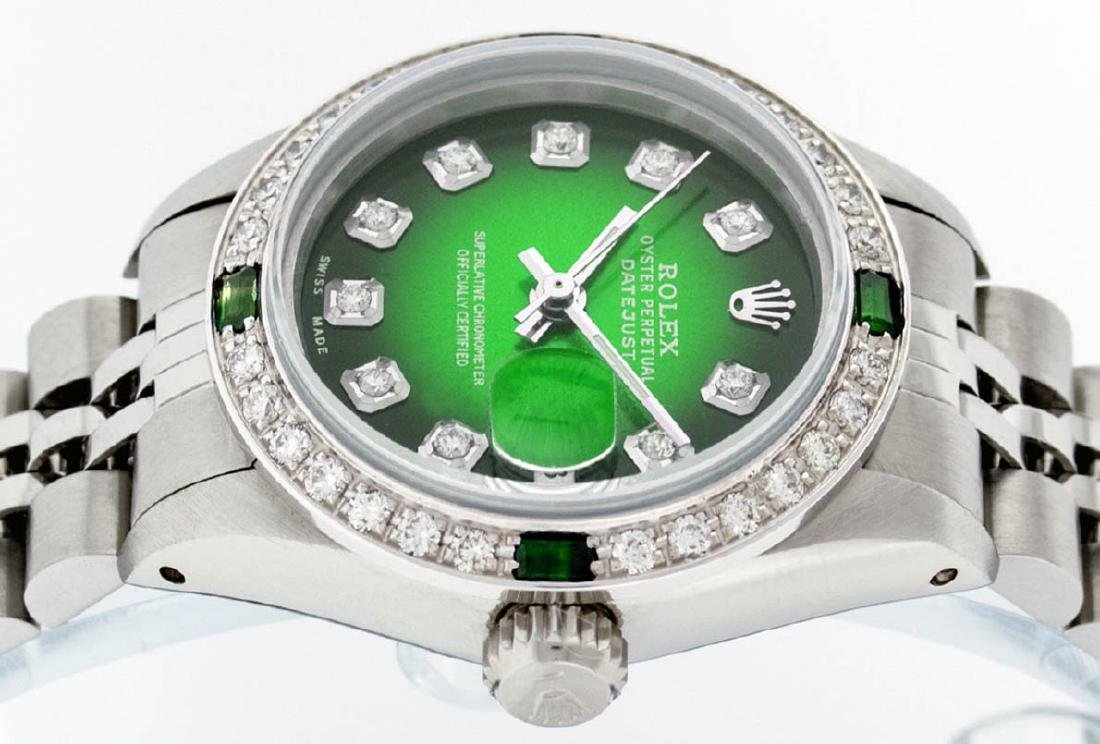 Rolex Ladies Stainless Steel 26MM Green Vignette - 3