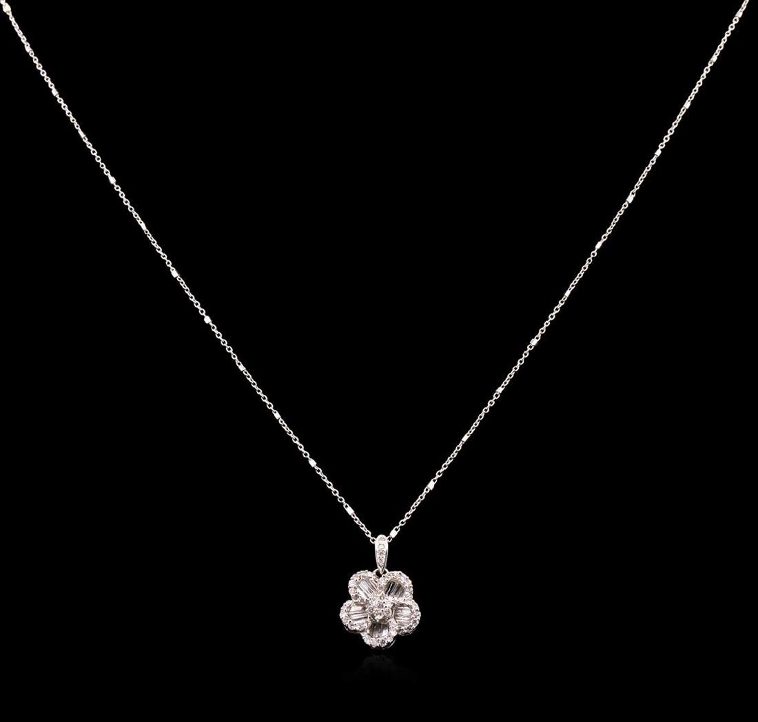 0.70 ctw Diamond Pendant With Chain - 18KT White Gold - 2