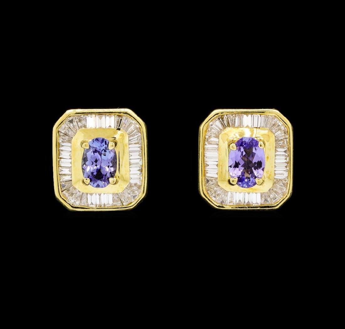 1.25 ctw Tanzanite and Diamond Earrings - 18KT Yellow