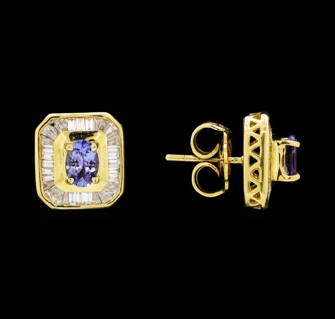 1.25 ctw Tanzanite and Diamond Earrings - 18KT Yellow - 2