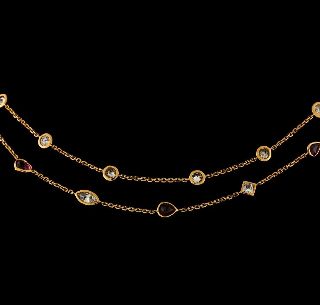 3.82 ctw Ruby and Diamond Necklace - 18KT Rose Gold - 2