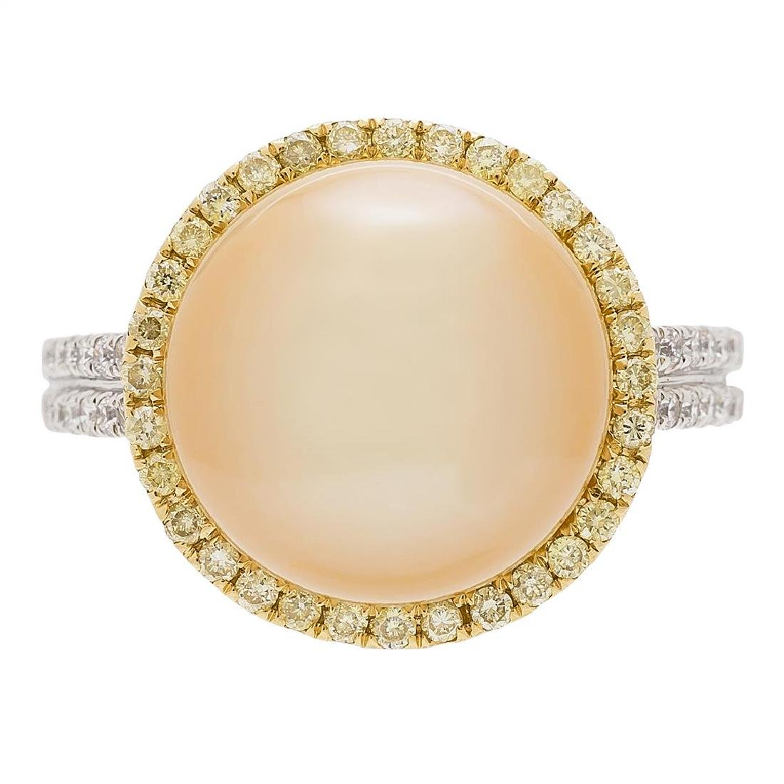 0.42 ctw Yellow and White Diamond and Pearl Ring - 18KT