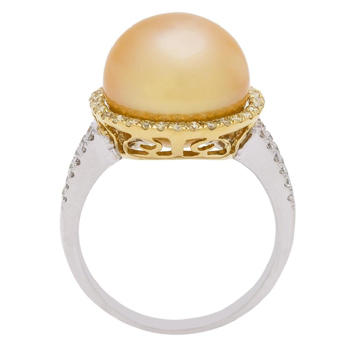 0.42 ctw Yellow and White Diamond and Pearl Ring - 18KT - 4