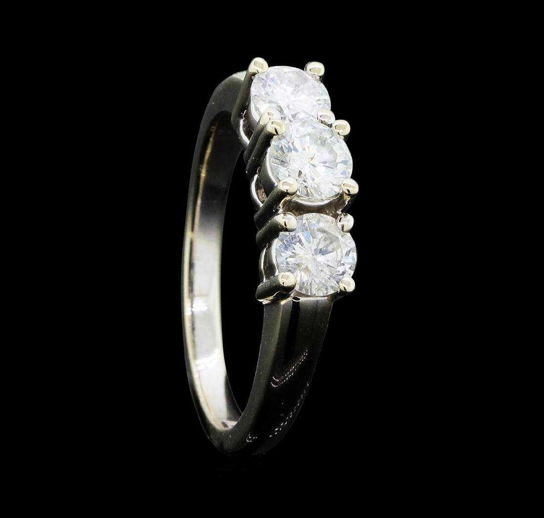 1.00 ctw Diamond Three Stone Ring - 14KT White Gold - 4