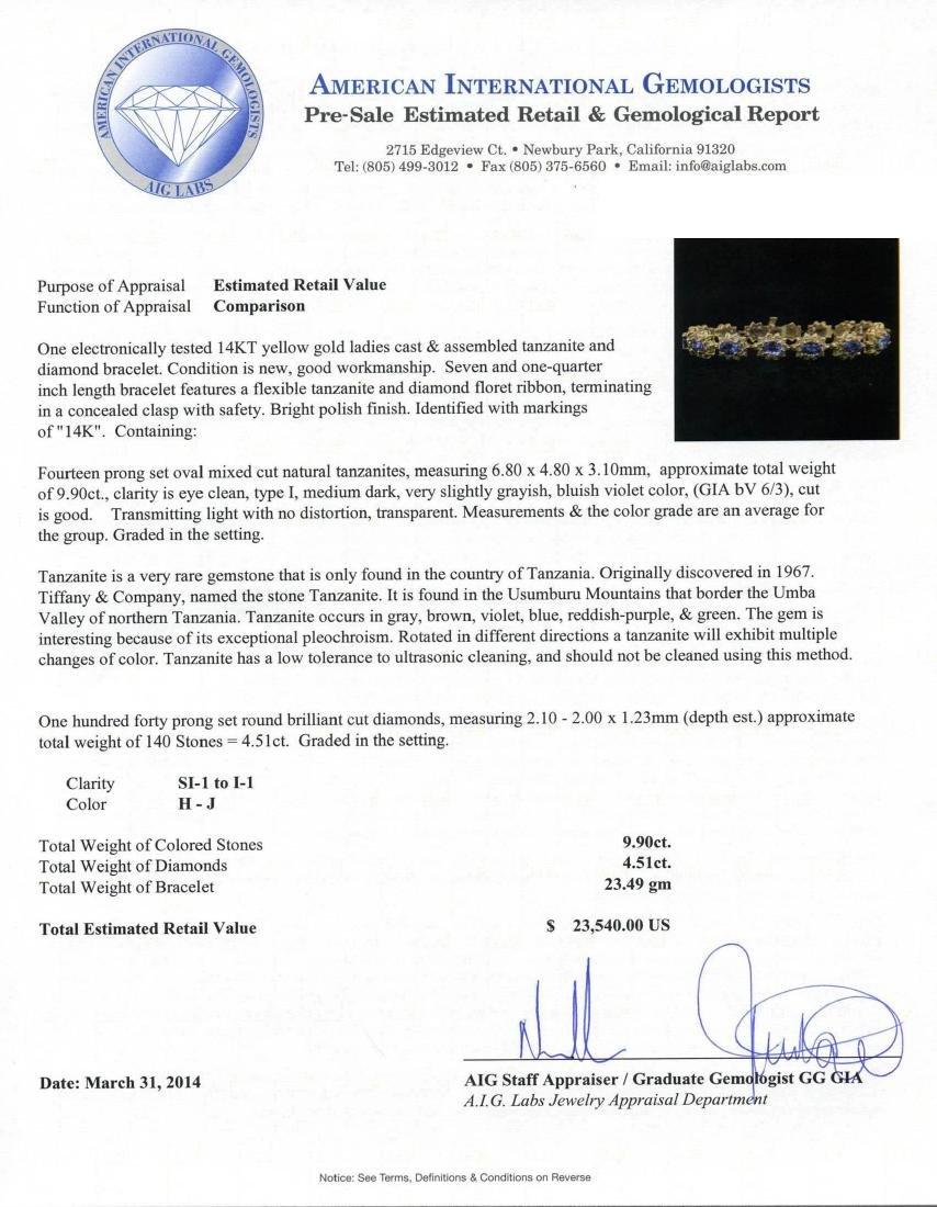 14KT Yellow Gold 9.90 ctw Tanzanite and Diamond - 3
