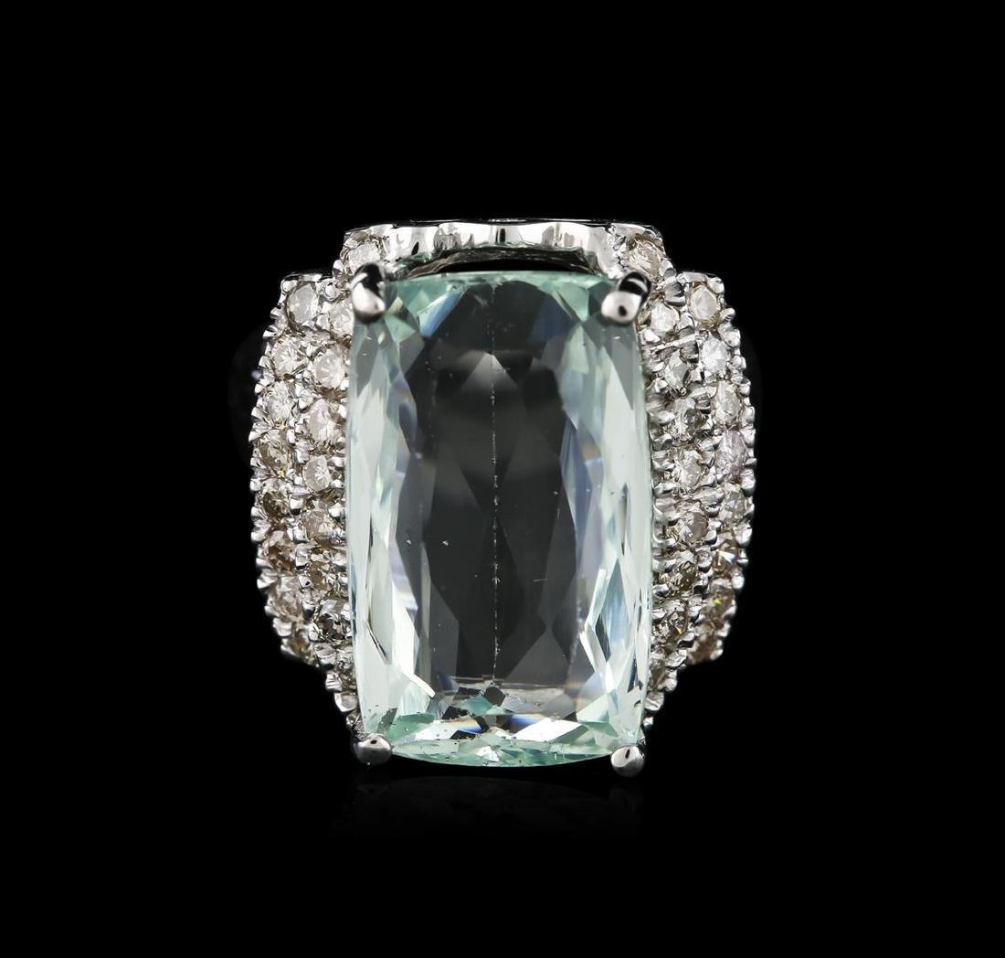 14KT White Gold 7.61 ctw Aquamarine and Diamond Ring - 2
