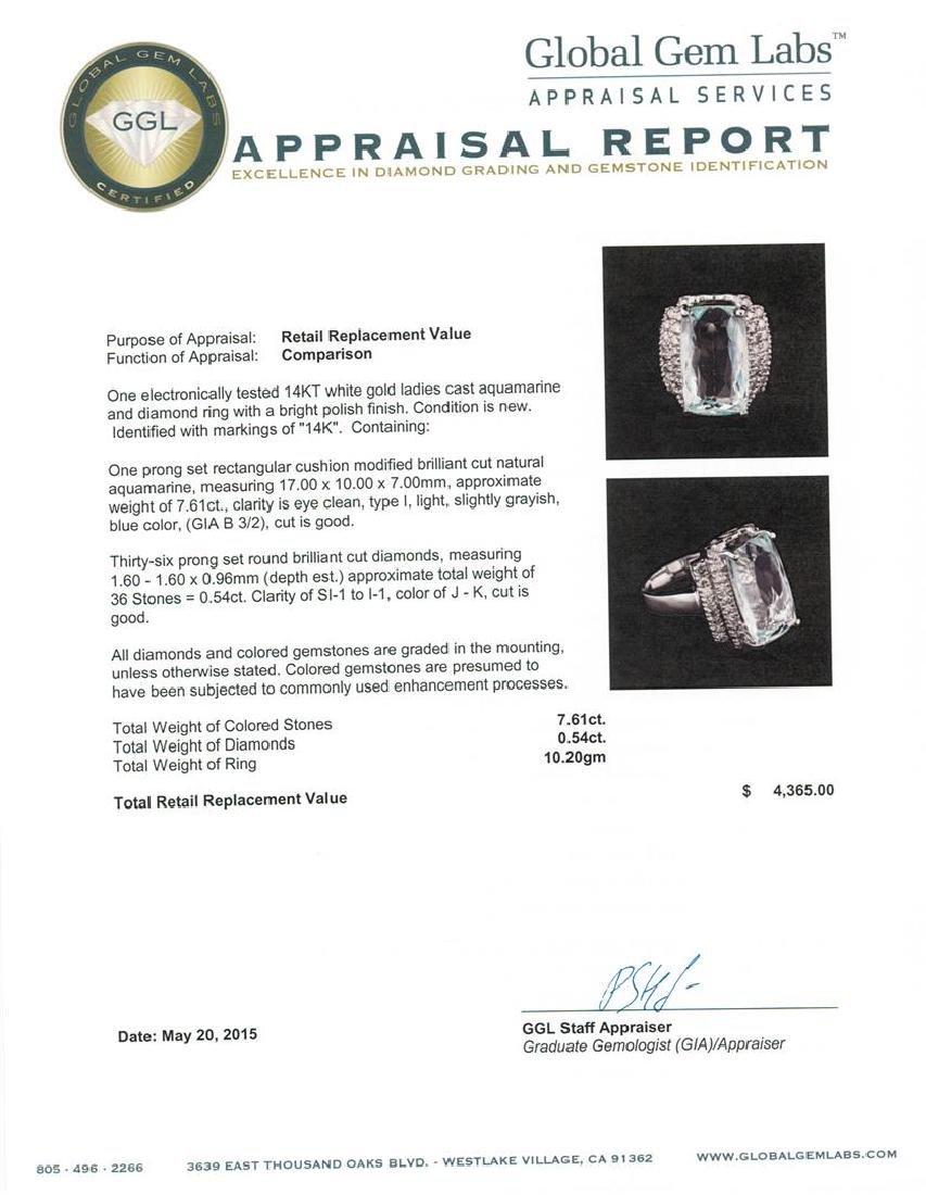 14KT White Gold 7.61 ctw Aquamarine and Diamond Ring - 3
