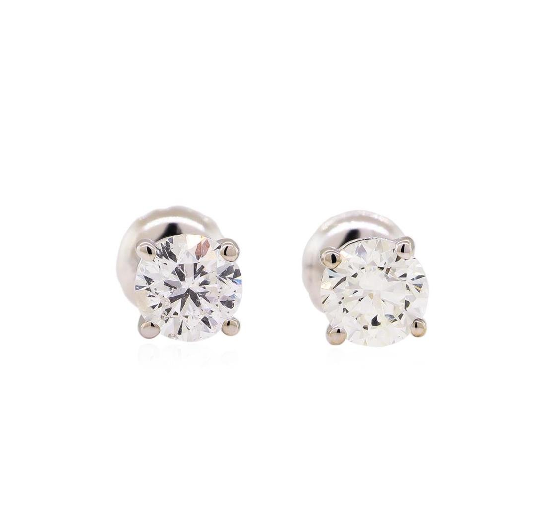 1.00 ctw Diamond Stud Earrings - 14KT White Gold