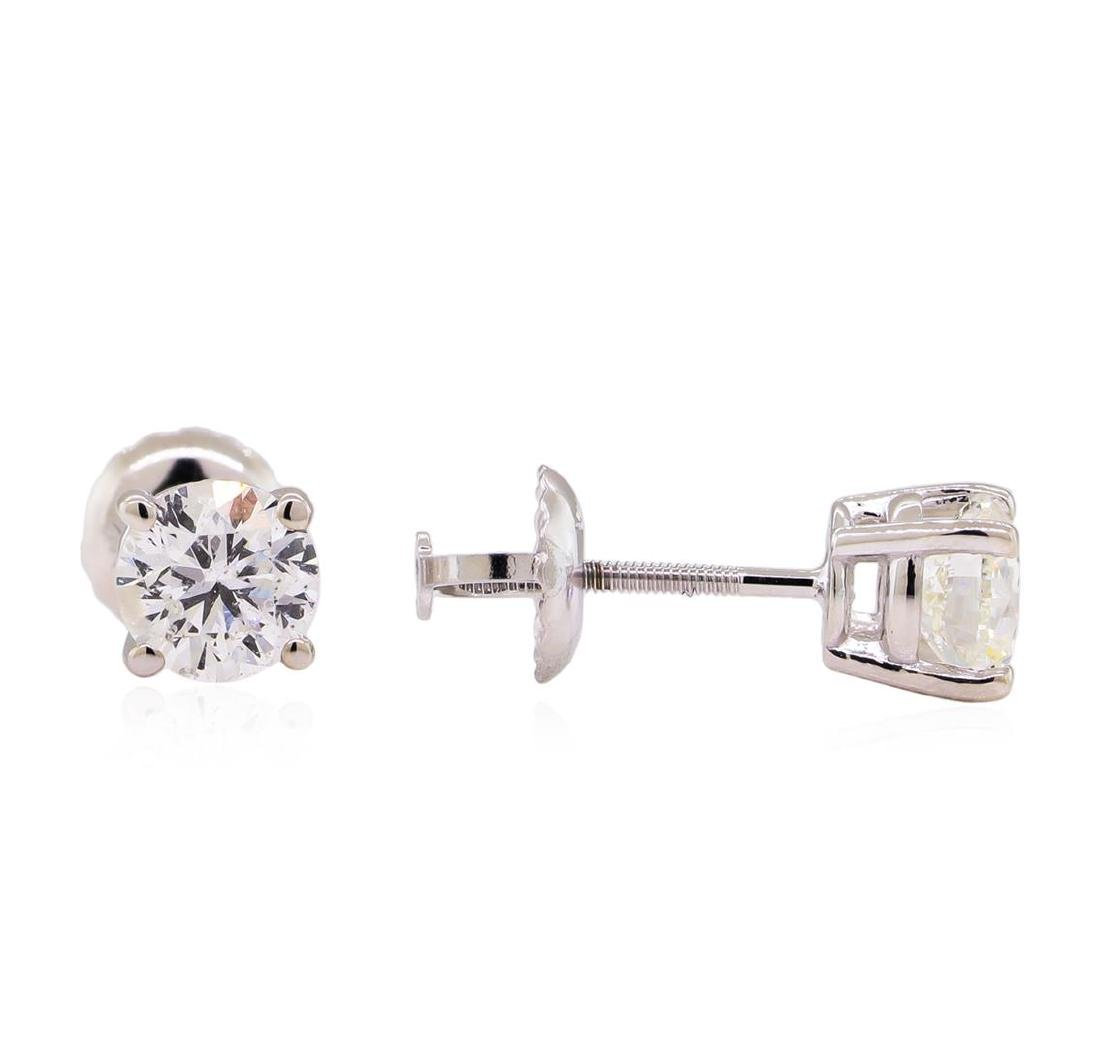 1.00 ctw Diamond Stud Earrings - 14KT White Gold - 2