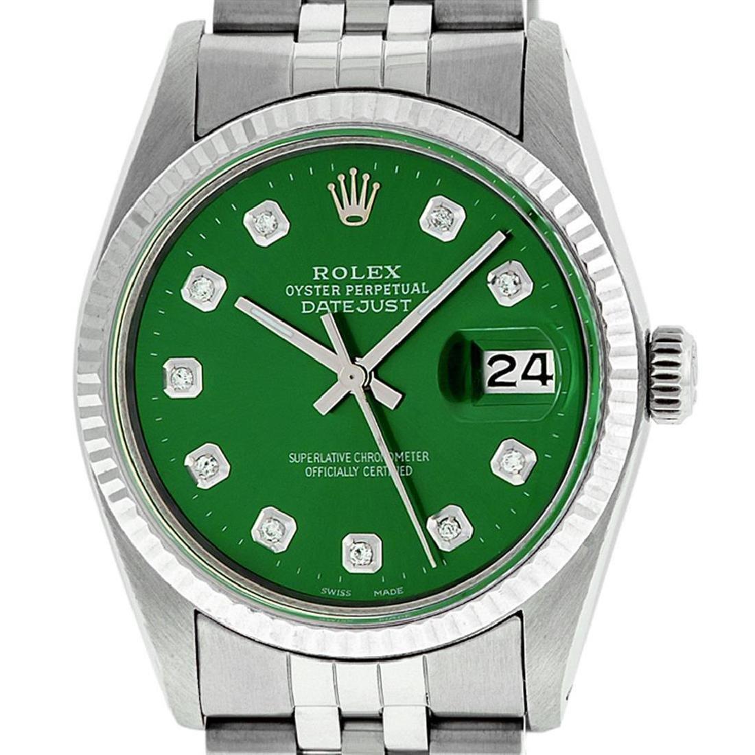 Rolex Mens Stainless Steel Green Diamond 36MM Datejust