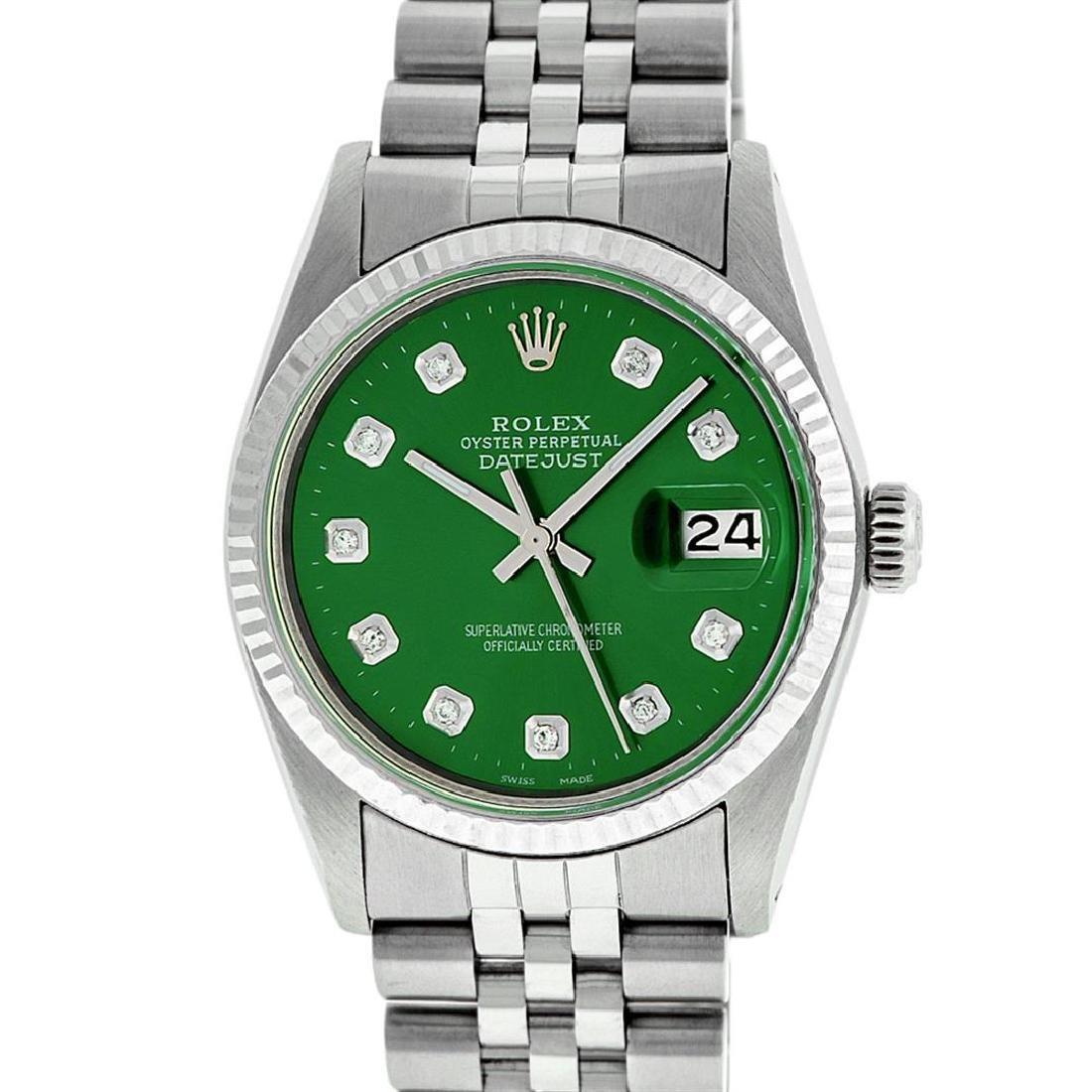 Rolex Mens Stainless Steel Green Diamond 36MM Datejust - 2