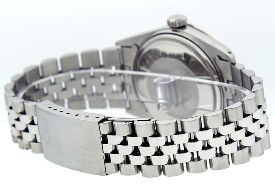 Rolex Mens Stainless Steel Green Diamond 36MM Datejust - 4