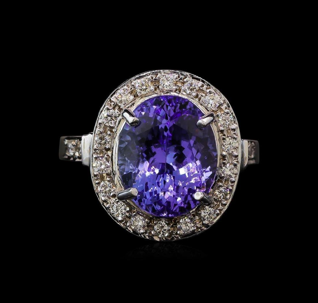 6.64 ctw Tanzanite and Diamond Ring - 14KT White Gold - 2