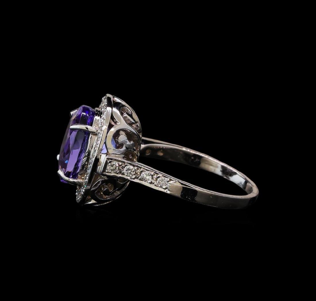 6.64 ctw Tanzanite and Diamond Ring - 14KT White Gold - 3