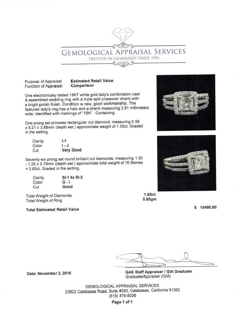 1.65 ctw Diamond Ring - 18KT White Gold - 5