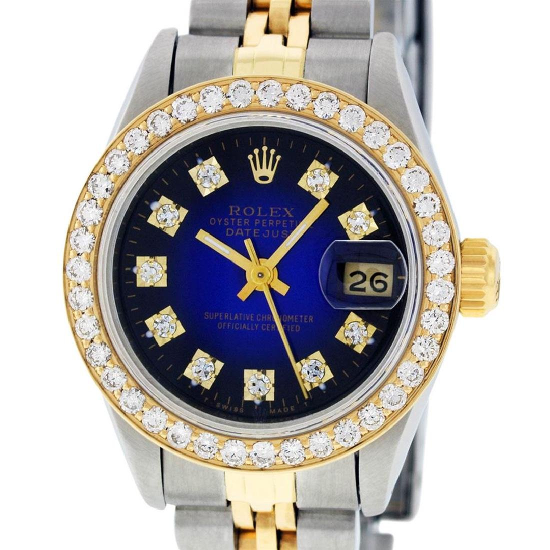 Rolex Ladies 2 Tone 14K Blue Vignette VS Diamond