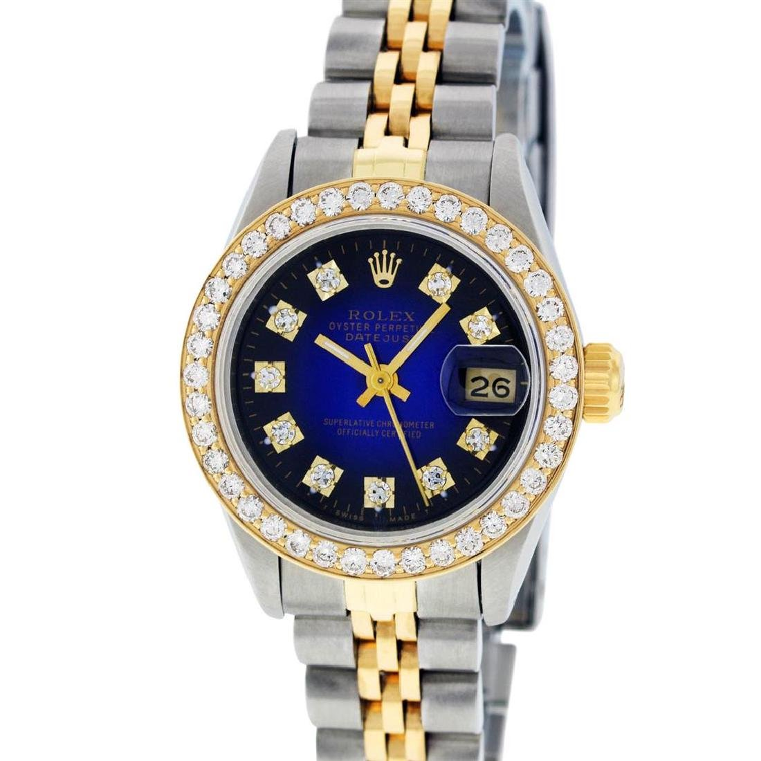Rolex Ladies 2 Tone 14K Blue Vignette VS Diamond - 2
