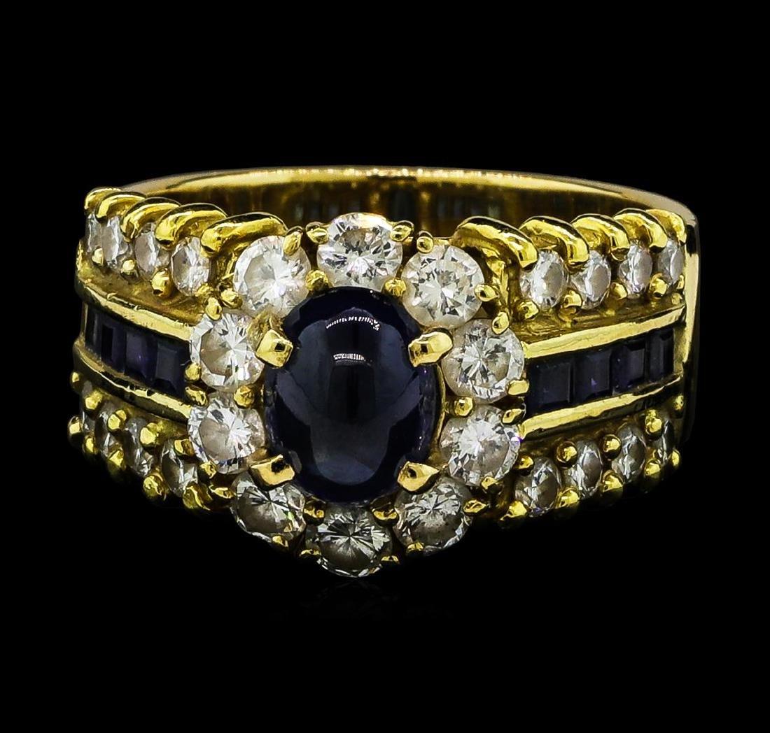 2.16 ctw Sapphire and Diamond Ring - 14-18KT Yellow