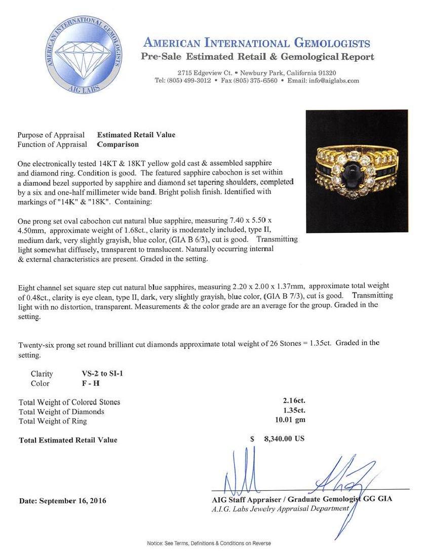 2.16 ctw Sapphire and Diamond Ring - 14-18KT Yellow - 4