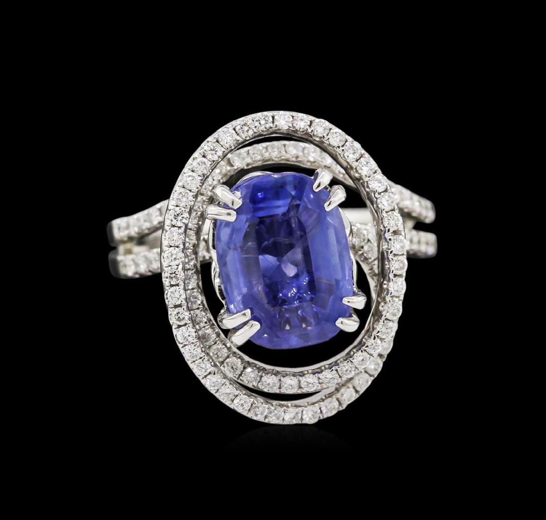 4.72 ctw Blue Sapphire and Diamond Ring - 18KT White - 2
