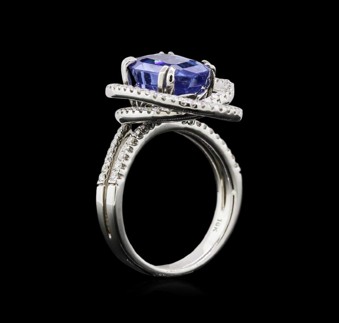 4.72 ctw Blue Sapphire and Diamond Ring - 18KT White - 3