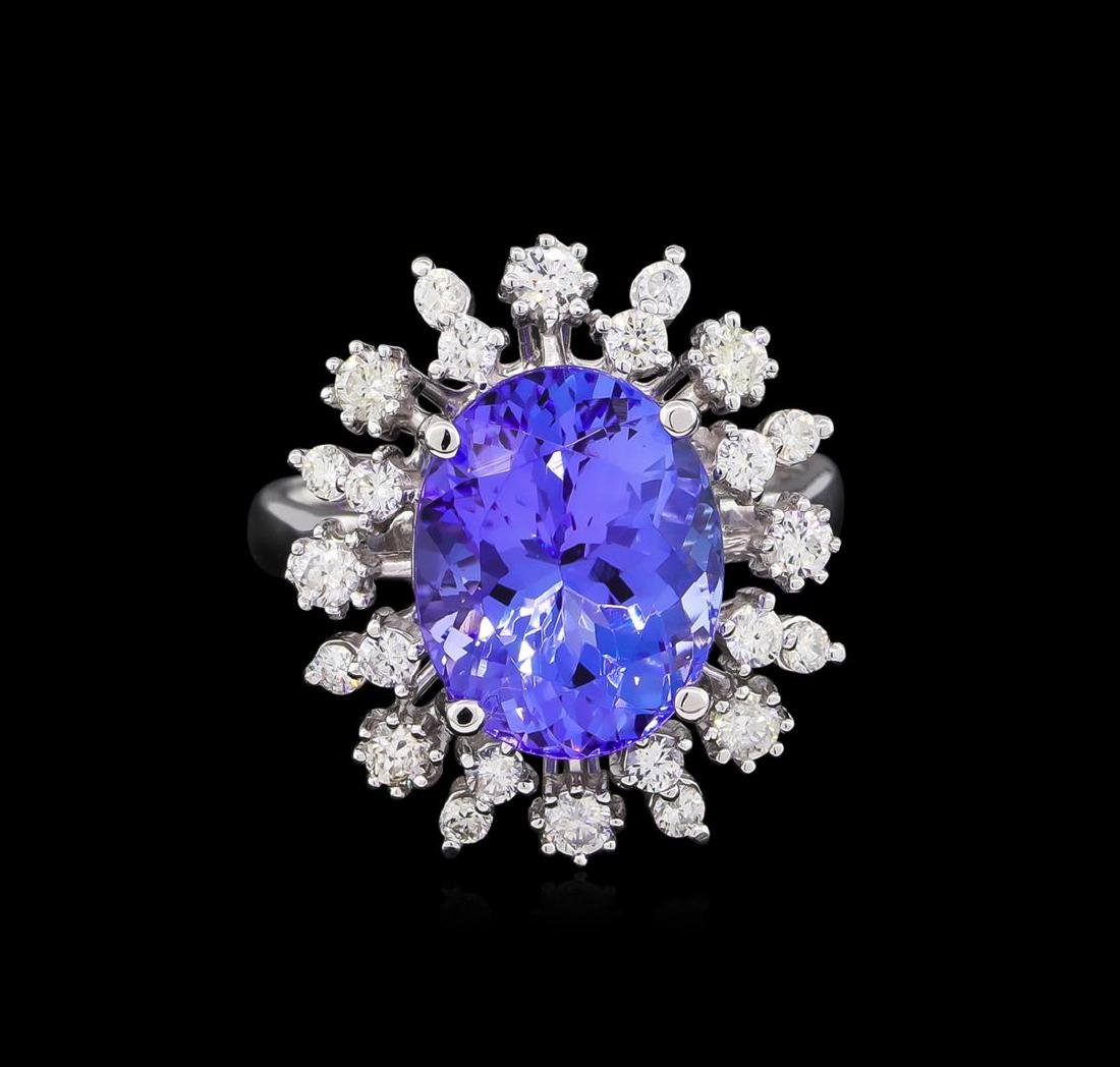 6.25 ctw Tanzanite and Diamond Ring - 14KT White Gold - 2