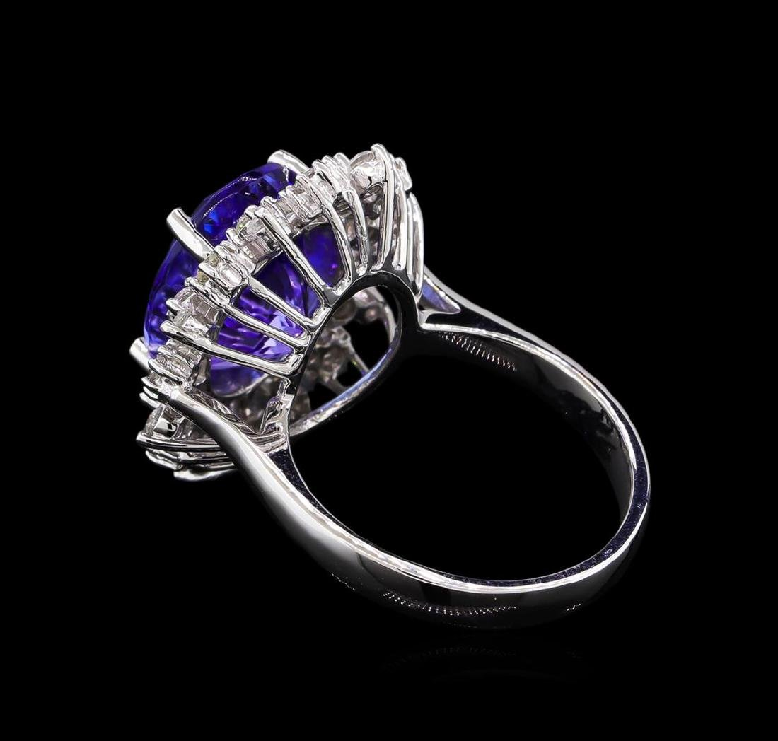 6.25 ctw Tanzanite and Diamond Ring - 14KT White Gold - 3