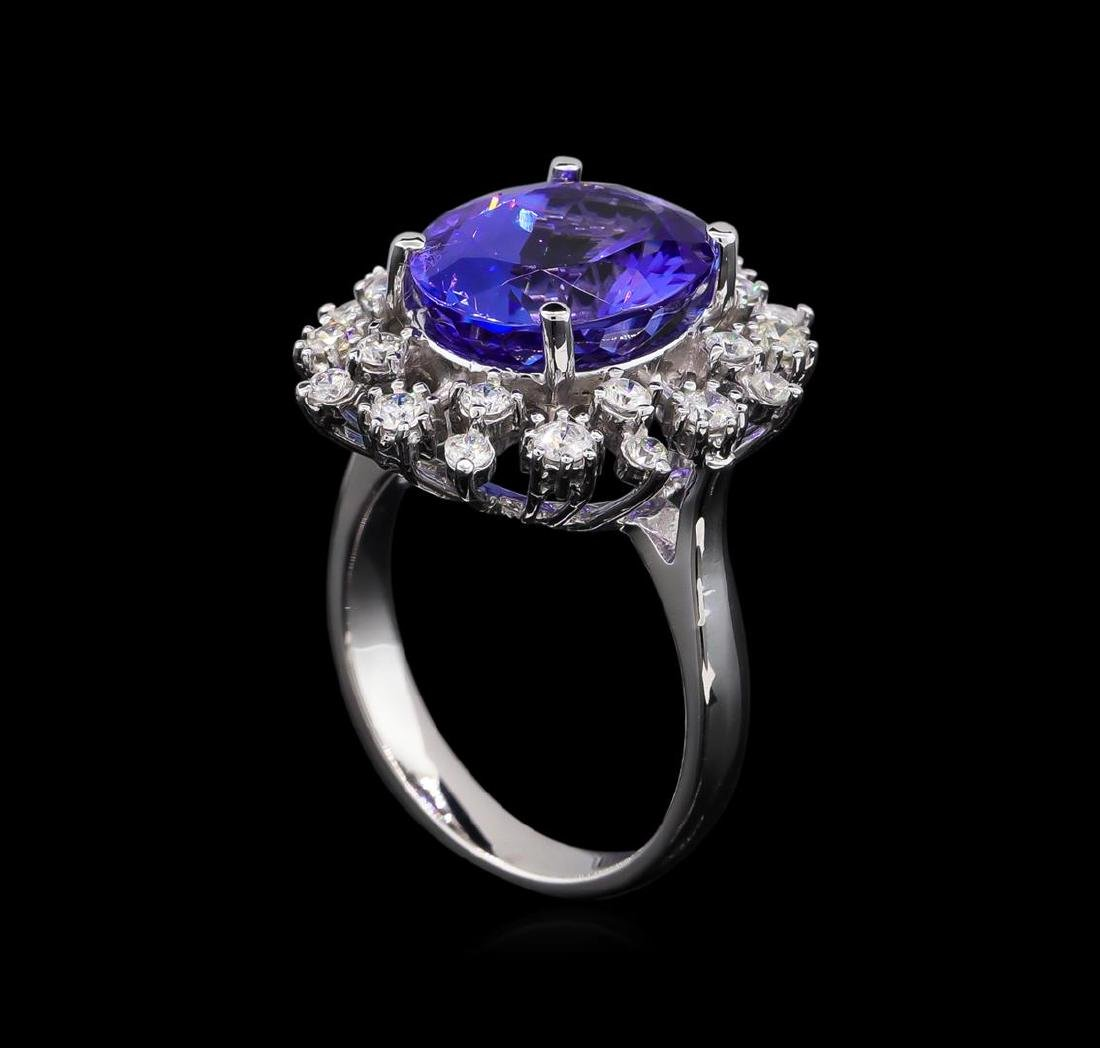 6.25 ctw Tanzanite and Diamond Ring - 14KT White Gold - 4