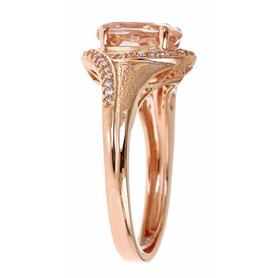 1.54 ctw Morganite and Diamond Ring - 10KT Rose Gold - 2