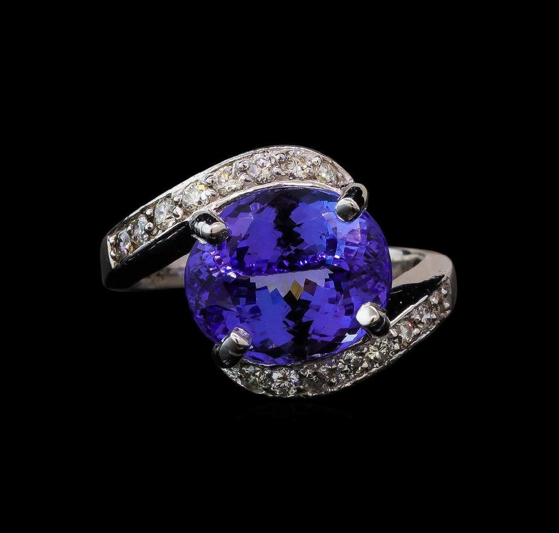 6.82 ctw Tanzanite and Diamond Ring - 14KT White Gold - 2