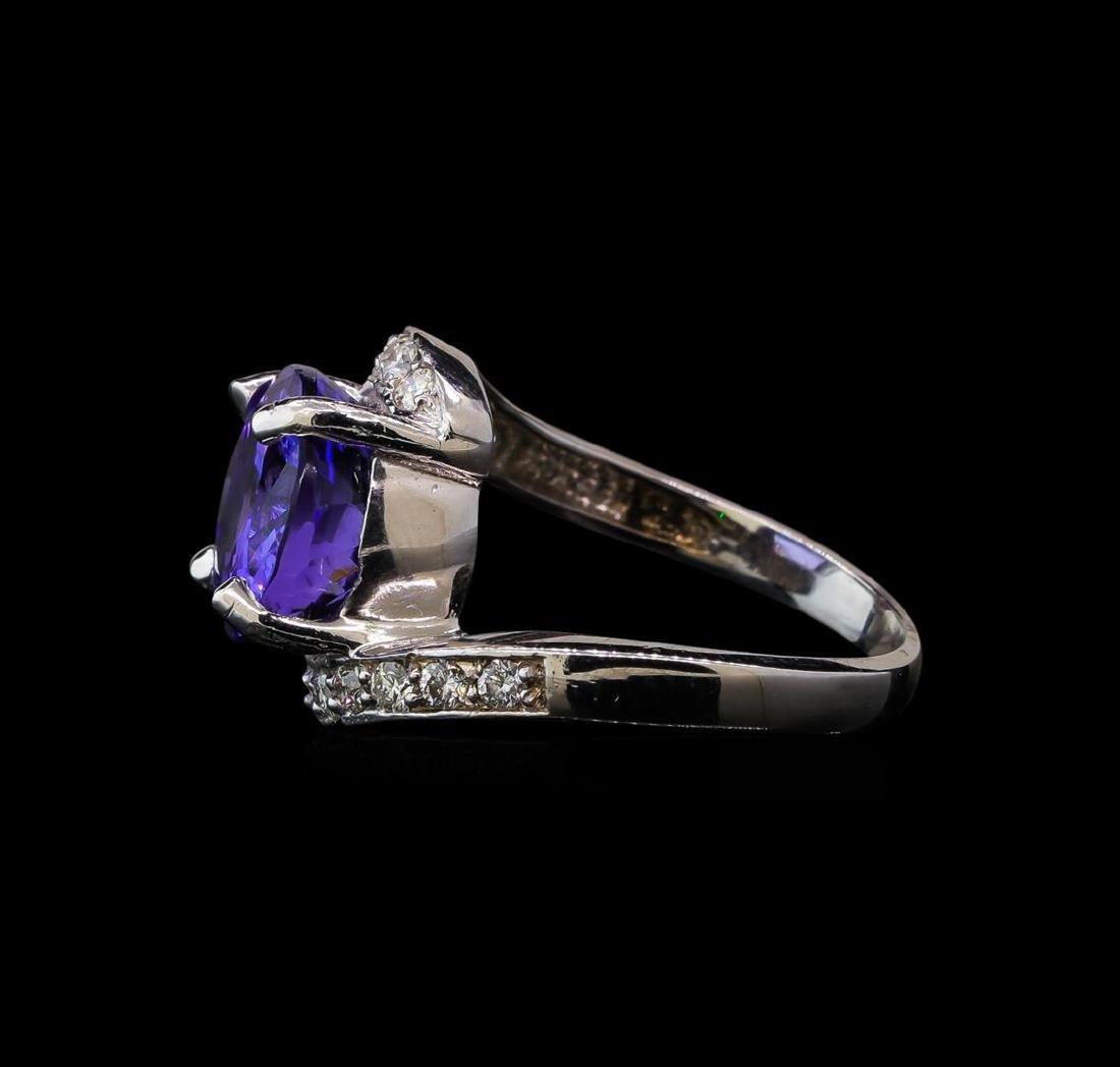 6.82 ctw Tanzanite and Diamond Ring - 14KT White Gold - 3