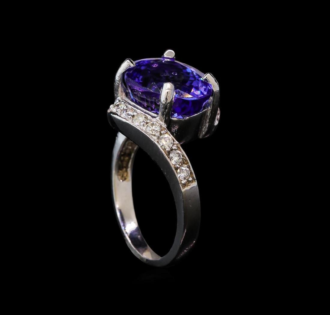 6.82 ctw Tanzanite and Diamond Ring - 14KT White Gold - 4