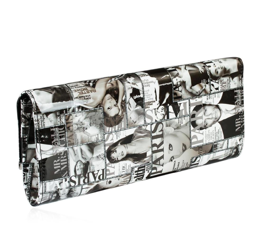 Black and White Fashionista Patent Oversized Clutch - 2