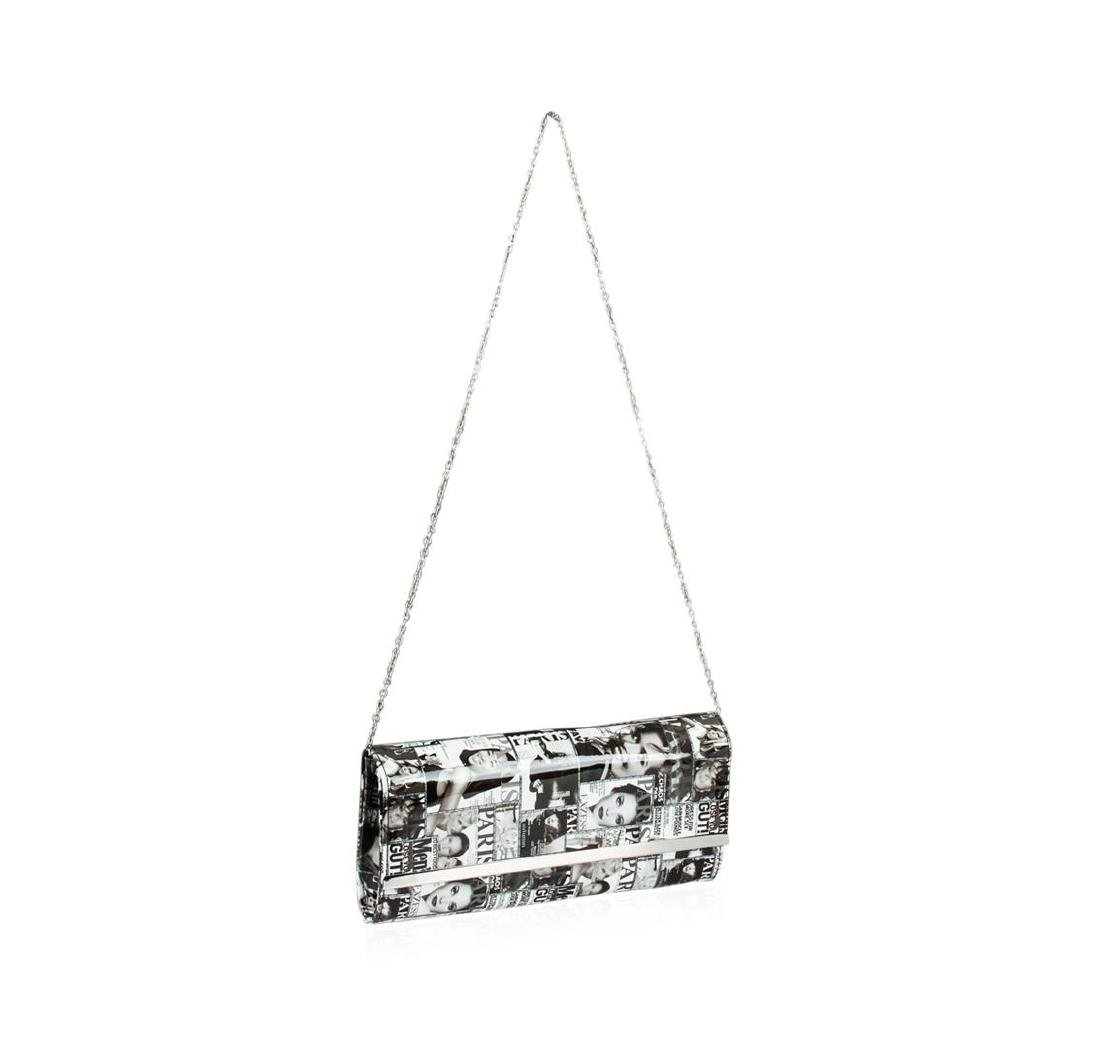 Black and White Fashionista Patent Oversized Clutch - 3
