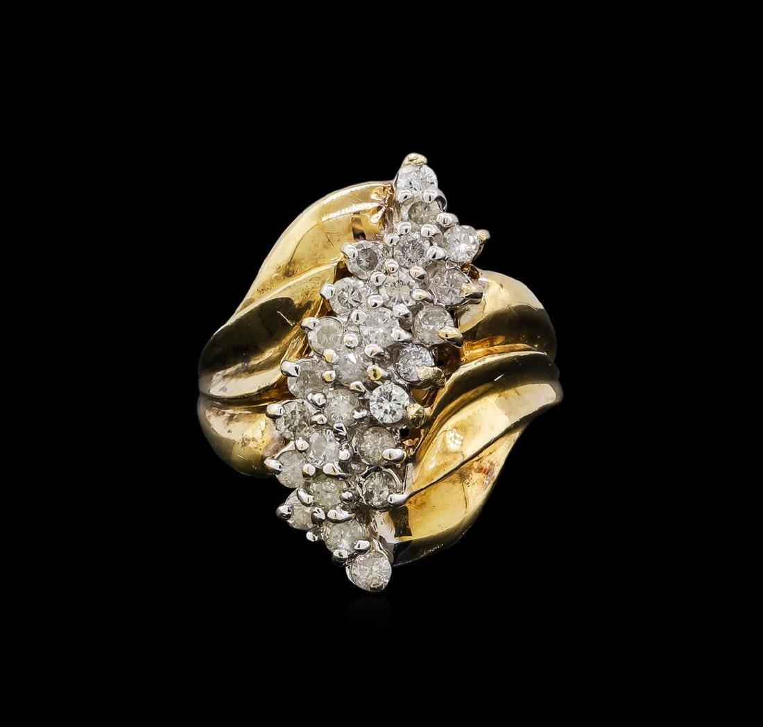 0.95 ctw Diamond Ring - 10KT Yellow Gold - 2