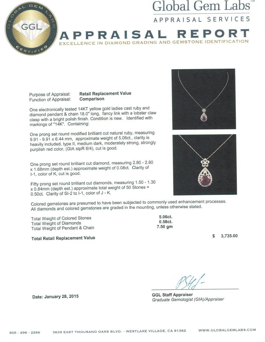 14KT Yellow Gold 5.06 ctw Ruby and Diamond Pendant With - 3