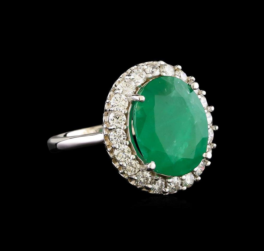 14KT White Gold 5.95 ctw Emerald and Diamond Ring