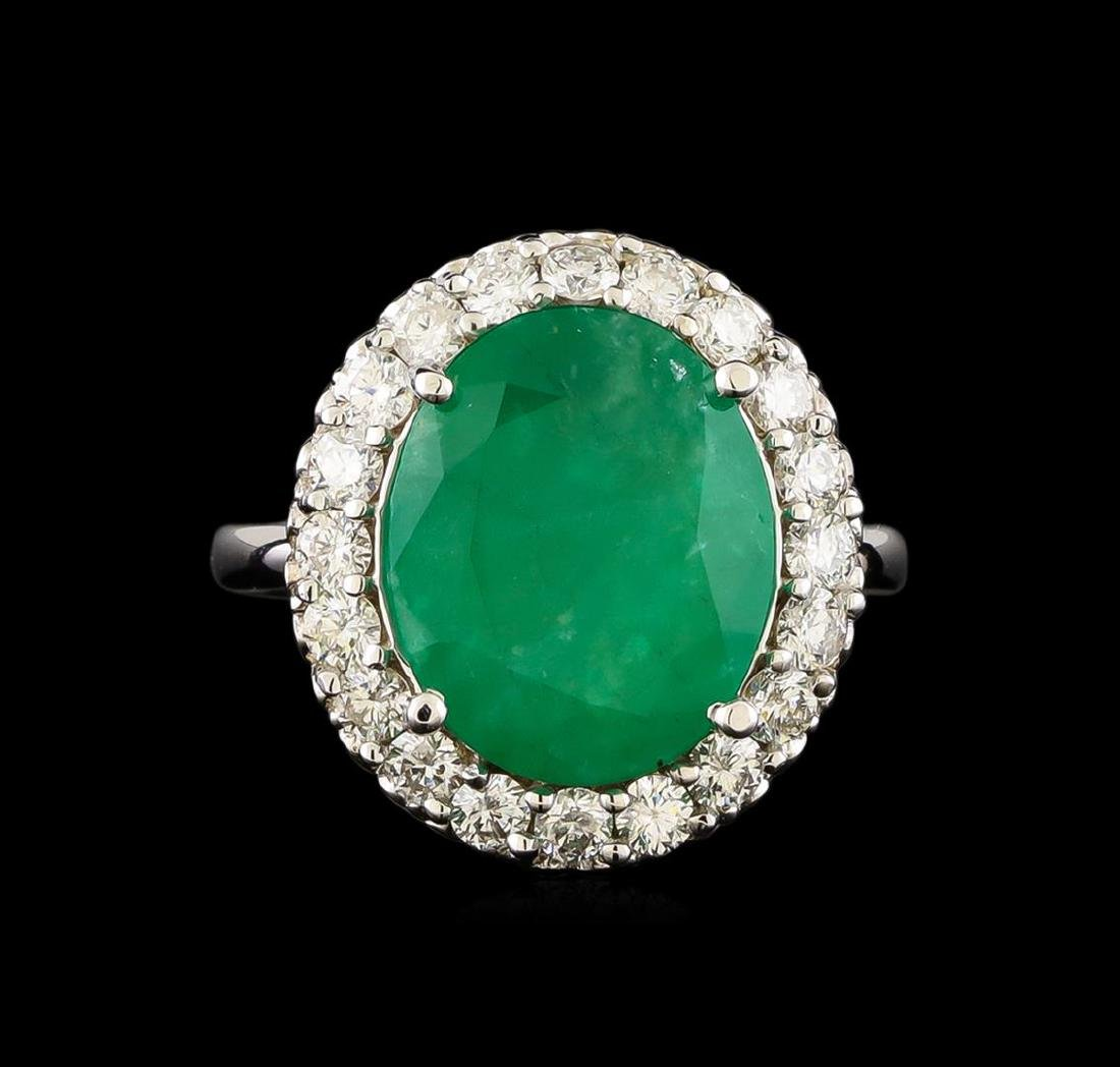 14KT White Gold 5.95 ctw Emerald and Diamond Ring - 2