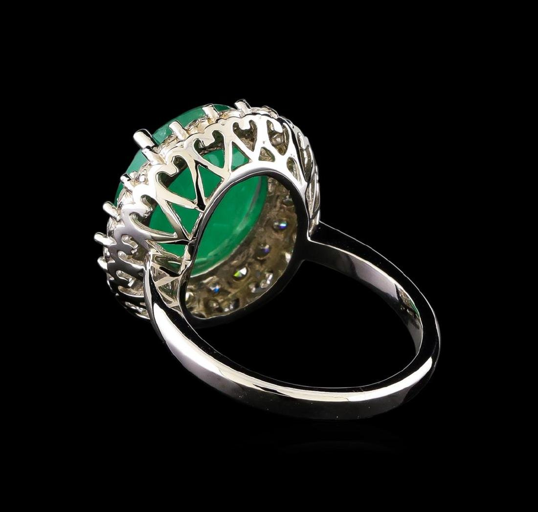 14KT White Gold 5.95 ctw Emerald and Diamond Ring - 3