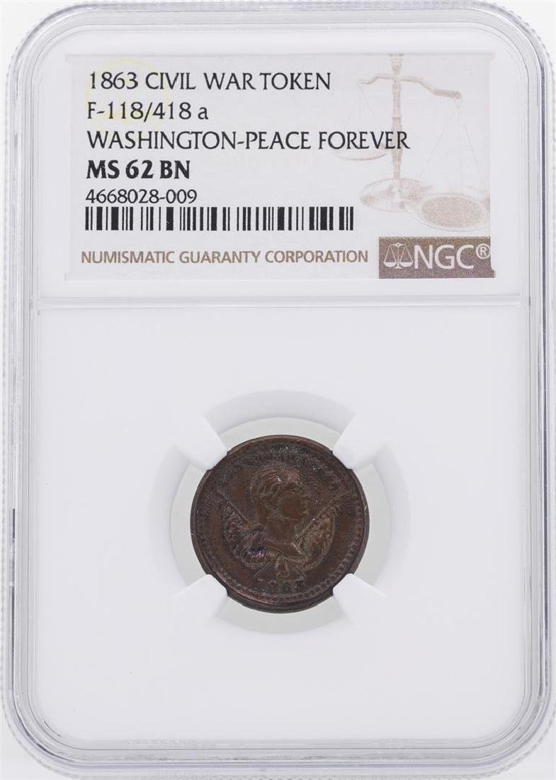 1863 Washington-Peace Forever Civil War Token NGC