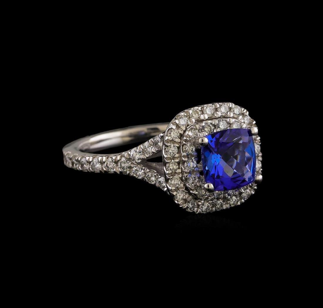 14KT White Gold 1.25 ctw Tanzanite and Diamond Ring