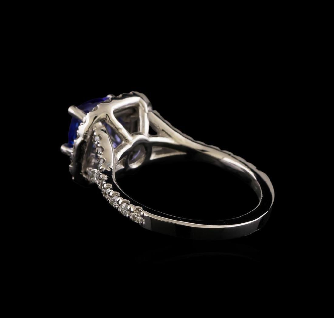14KT White Gold 1.25 ctw Tanzanite and Diamond Ring - 3
