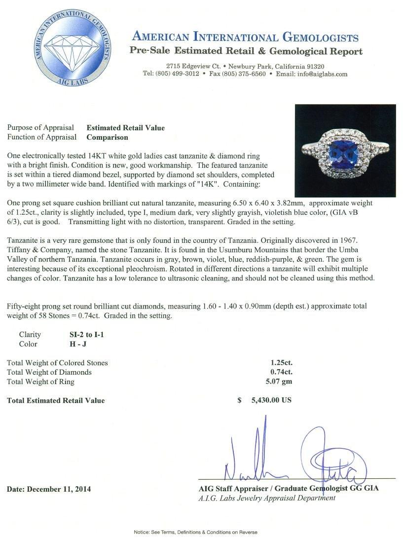 14KT White Gold 1.25 ctw Tanzanite and Diamond Ring - 5