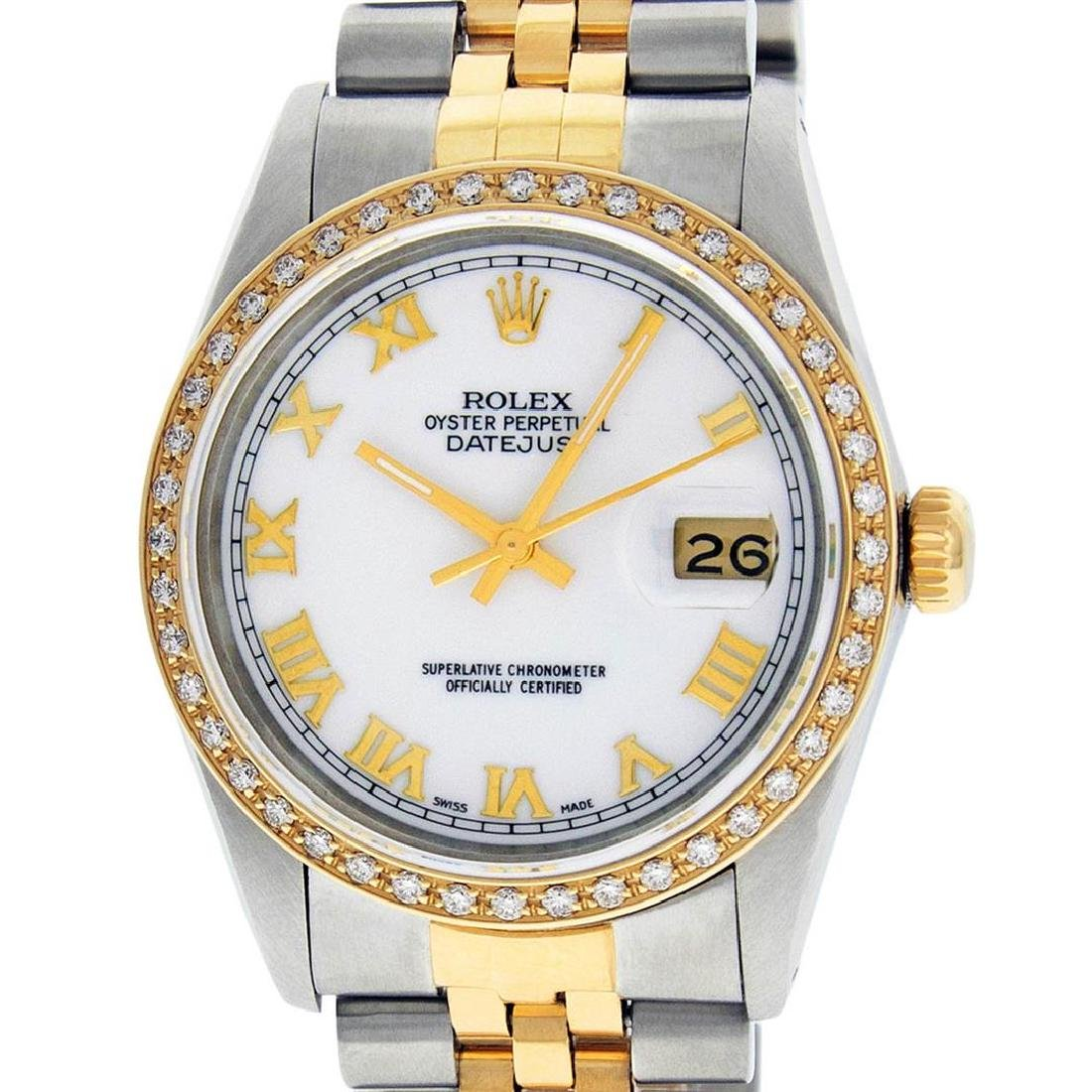 Rolex Mens 2 Tone 14K Mother Of Pearl Diamond 36MM
