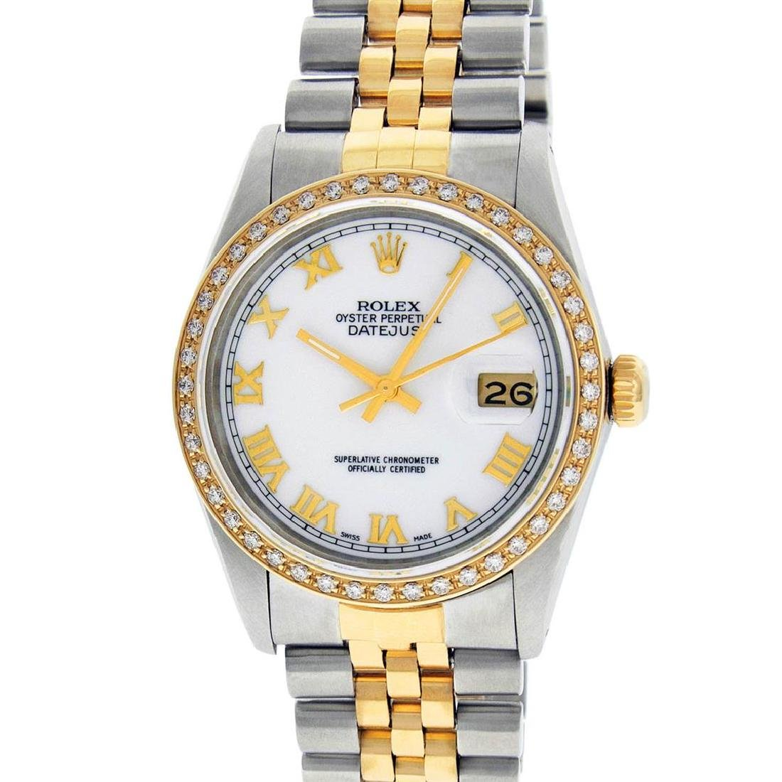 Rolex Mens 2 Tone 14K Mother Of Pearl Diamond 36MM - 2