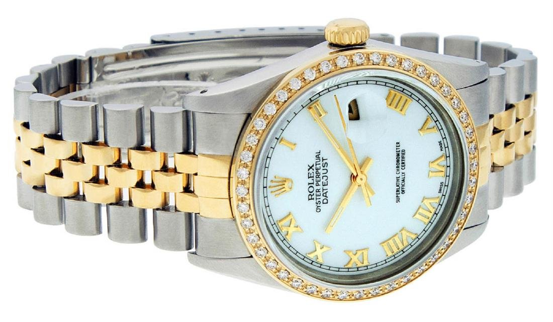 Rolex Mens 2 Tone 14K Mother Of Pearl Diamond 36MM - 3
