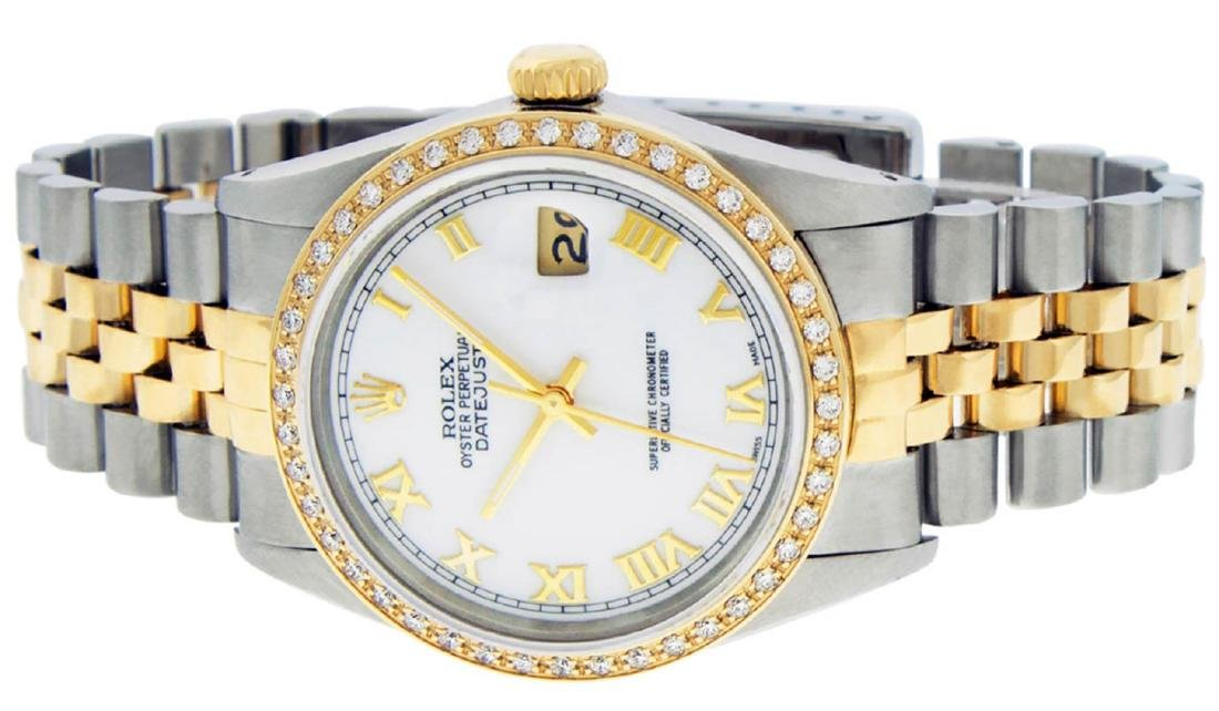 Rolex Mens 2 Tone 14K Mother Of Pearl Diamond 36MM - 6