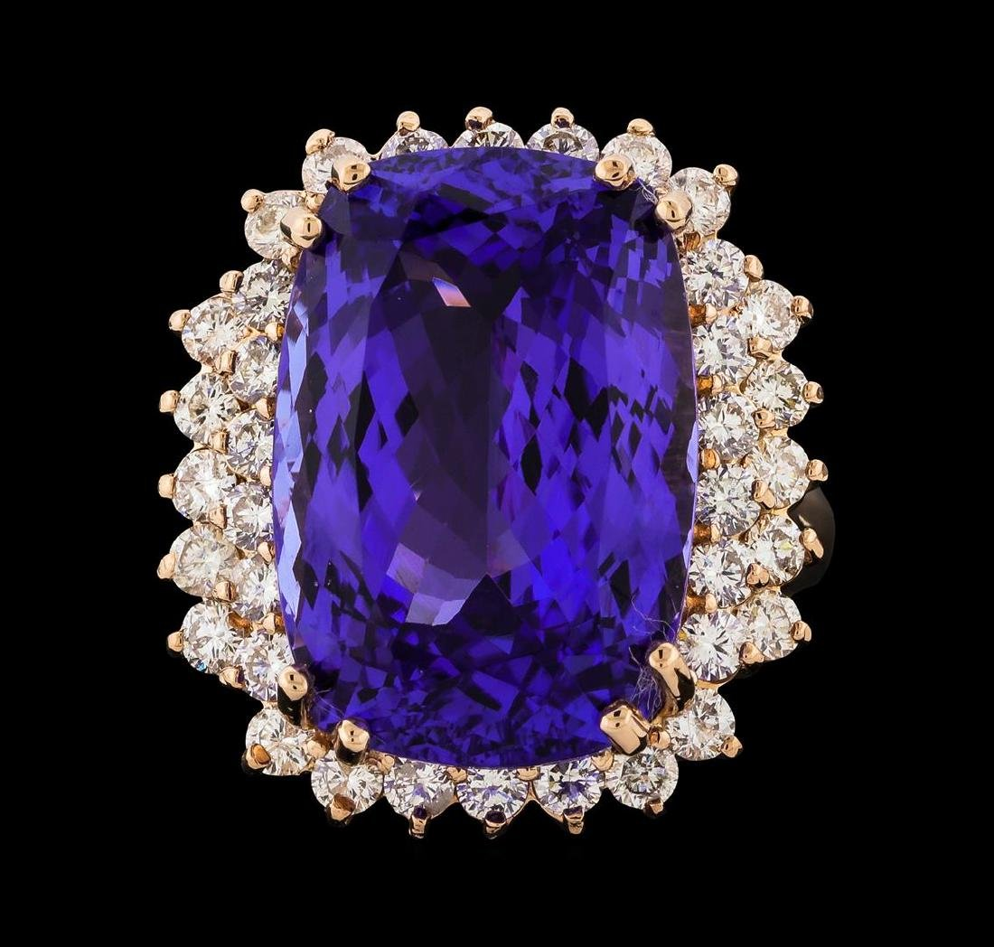 17.77 ctw Tanzanite and Diamond Ring - 14KT Rose Gold - 2