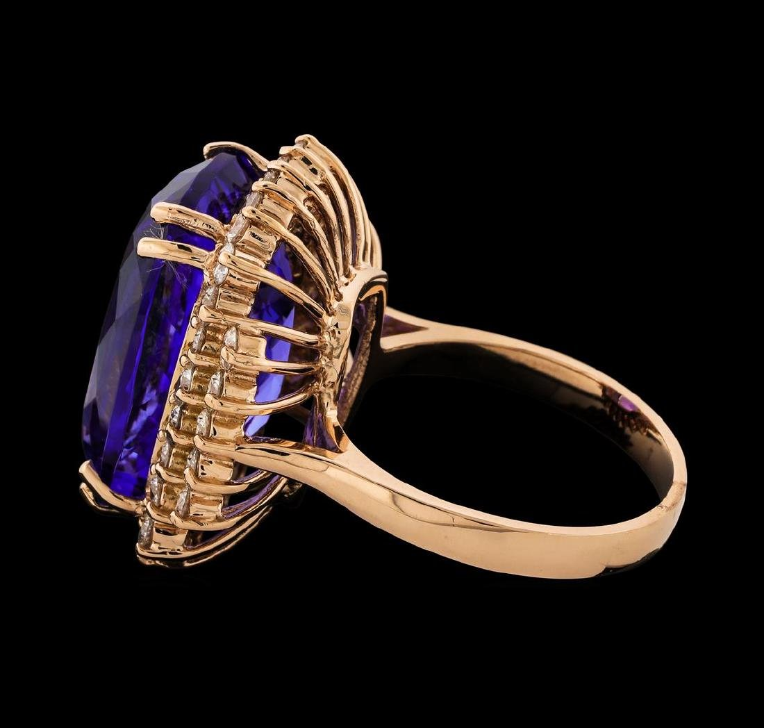 17.77 ctw Tanzanite and Diamond Ring - 14KT Rose Gold - 3