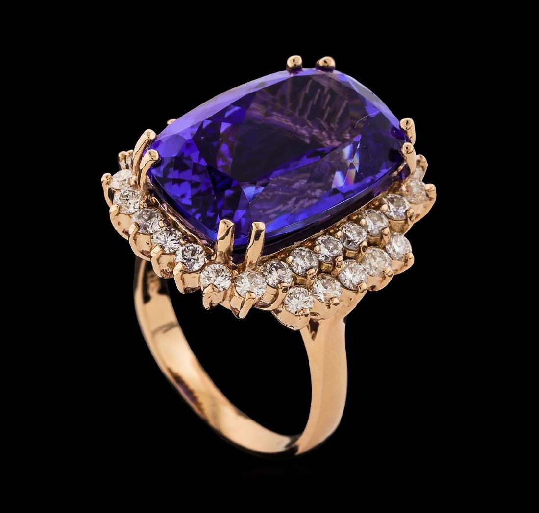17.77 ctw Tanzanite and Diamond Ring - 14KT Rose Gold - 4